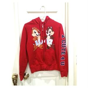 Disney CHIP & DALE Red Zip Up Hoodie 1947 Kids L